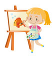 girl painting goldfish on canvas vector image