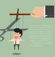 Marionette of Businessman is released from rope vector image
