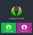 vegetarian fork green leaf logo vector image