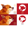 2018 chinese new year of the dog set card design vector image