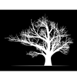 Big white tree on black background vector image