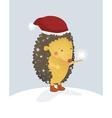 Merry Christmas hedgehog vector image