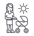 mother with baby stroller line icon sign vector image