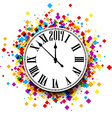 2017 New Year clock background vector image