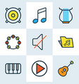 multimedia colored outlines set collection of vector image