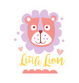 cute cartoon little lion colorful hand drawn vector image
