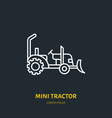 mini tractor flat line icon transportation vector image