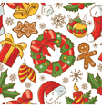 Christmas doodle seamless pattern vector image vector image