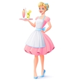 housewife with apron holding tray with vector image