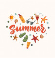 summer text with beach elements sunscreen vector image