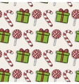 Christmas pattern with candy and green gifts vector image
