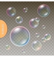 Realistic soap Transparent bubbles with colored vector image