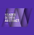 design site header with purple layers and text at vector image