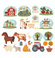 domestic animals organic vegetables and young vector image