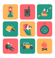 Flat icons of travel and adventure vector image