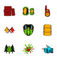 paintball icons set cartoon style vector image