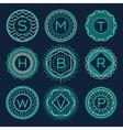 Set trendy monograms logotypes linear style vector image