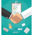 handshake between doctor and patient vector image