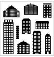 Urban building silhouette set vector image