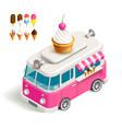 Van with ice cream vector image
