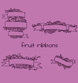 Set of doodle ornate fruit ribbons vector image vector image