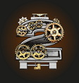 2 letter with gears vector image