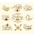 Flat bakery symbols brown vector image