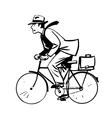 businessman quickly rides Bicycle line art retro vector image