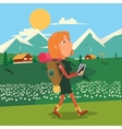 Girl hike cartoon colorful vector image