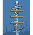 wooden signpost covered with snow in winter forest vector image