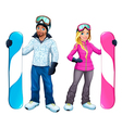 Snowboarders boy and girl vector image