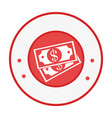 Circular emblem with dollar bills vector image