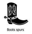 boot spurs icon simple black style vector image