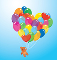 Image with colorful balloons in heart shape and te vector image