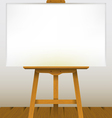 Easel with a blank canvas on a wooden floor vector image