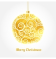 Golden watercolor painted Christmas ball vector image