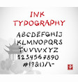 hand-drawn ink sketch font on white vector image