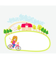 Happy Driving Bike with Cute Smiling Young Girl - vector image