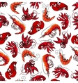 Lobsters and shrimps seamless pattern vector image
