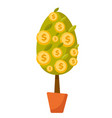 money tree with coins cartoon vector image