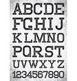 Vintage retro font stamped type black scratched vector image