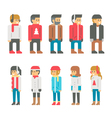 Flat design winter people vector image