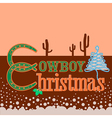 Cowboy Christmas card background with text vector image