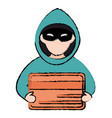 cyber thief avatar character with credit card vector image