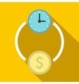 Money and time icon flat style vector image