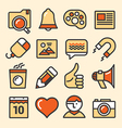 Outlined media icons set vector image