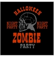 Halloween party poster with zombie head - vector image
