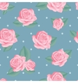 Pink roses with leaves on vintage blue polka dot vector image