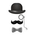 vintage gentleman set in black and grey colors vector image