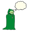 cartoon spooky halloween costume with thought vector image